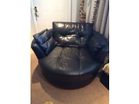 3 seater black leather sofa & large cuddle chair