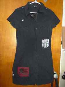 Vexy Black cargo dress with patches, goth, steampunk