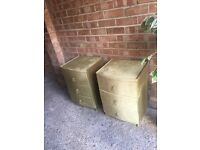 BEDSIDE TABLES PAIR GOOD CONDITION CLEAN VELVET FREE DELIVERY