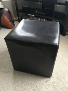 Cube Bonded Leather Ottoman