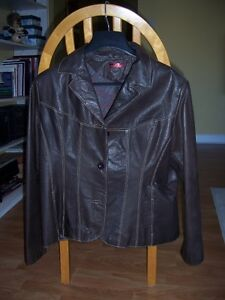 Ladies Chocolate Brown Leather Jacket-Size XL