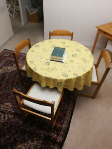Old wooden dining table and chairs --- part of furniture sale