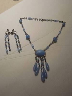 Vintage Art Deco Czech Blue Satin Glass Drop Necklace & Earrings