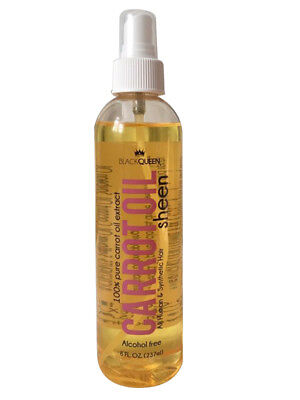 Black Queen Carrot Oil Sheen Spray alcohol free for human and synthetic hair 8oz - Black Spray For Hair