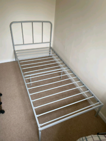 Grey metal single bed frame