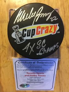 MIKE BOSSY Signed Inscribed Cup Crazy InGlas Vintage Hockey Puck
