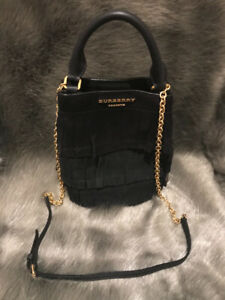 New Burberry Prorsum Black Fringed Tote Purse