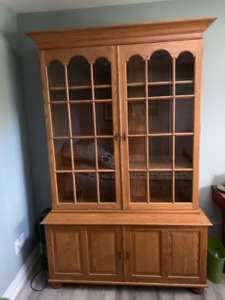 Solid Oak Book case and Bottom Cabinet