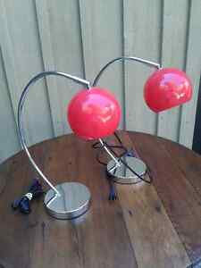 2 Desk Lamps - Silver Base with Red Globe Shade