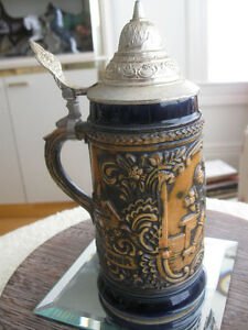 OLD VINTAGE HEAVILY EMBOSSED PEWTER-LIDDED GERMAN BEER STEIN