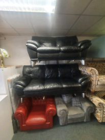 3&2 seater sofa in black leather on chrome feet £240