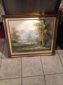 Gilt framed scenic oil on canvas, signed