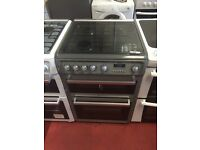 Fantastic Hotpoint double oven glass top gas cooker 60cm can deliver 3 month guarantee