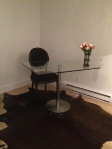 Tempered glass table &  IKEA storage