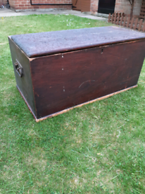 Vintage Pine Blanket Box / Tool Toy Linen Chest Storage