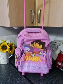 Dora the explorer backpack/luggage trolley on wheels