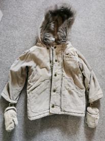 Boys fawn corduroy coat age 2-3