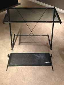 Glass and Metal Computer/Study Desk with Keyboard Tray