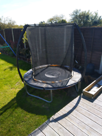Garden swing and trampoline