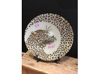 Large decorative leopard print plate bowl ornament animal dish