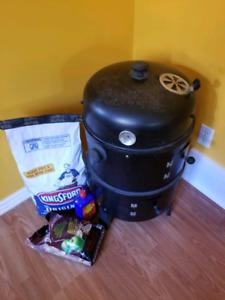 Meat Smoker with coals, fluid, woodchips