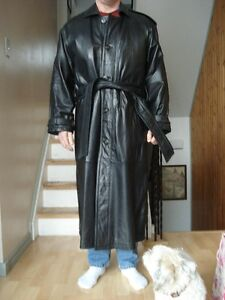 Full length leather coat
