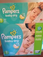 168 Pampers baby dry diapers size 1.
