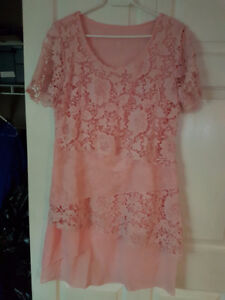 Pink Round Neck Lace Dress with Short Sleeves