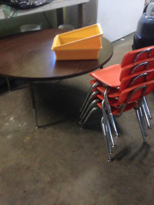 1. Table & Chairs for children  2. antique school chair