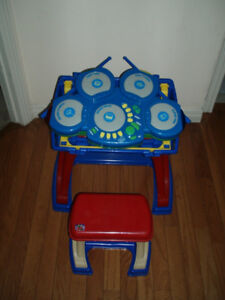 2 in 1 Small Desk / Easel with Chair and Electronic Drums