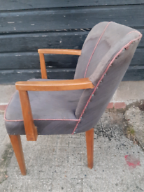 Vintage retro Danish mid century 60s wood armchair reupholstery chair