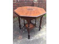 Lovely Carved Wood Octagonal Vintage Table
