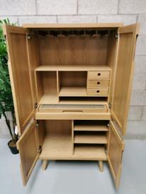 Carlton Tambour Retro Mid Century Modern Oak Storage Unit