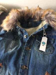 Unisex Brand New Denim Jacket with Faux Fur Collar