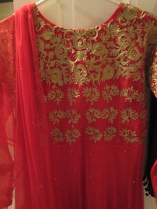 Red Embroidered Anarkali