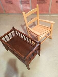Doll Cradle & Child's Rocking Chair