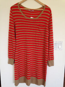 New with tags Gap orange and beige striped knit dress.