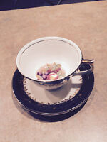 Aynsley Cup and Saucer green and white with fruit in cup