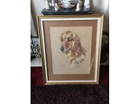 Superb framed pastel drawing of a Golden Retriever