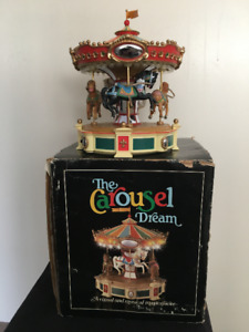 LargeVintage Enesco Animated Lighted Musical Carousel
