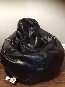Black leather bean bag chair
