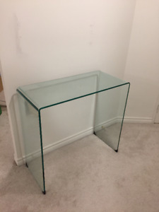 Large Bent Glass Console End Table