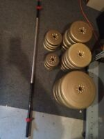 250lbs weights plus bar