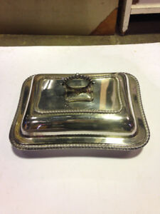Vintage Silver Serving Tray with lid $20