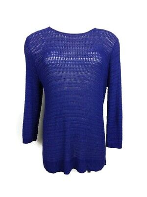 Chico's Loose Knit Scoop Neck Long Sleeve Purple Sweater Women's Size 2 Stretch