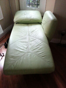 Lime Green Coloured Real Leather Couch