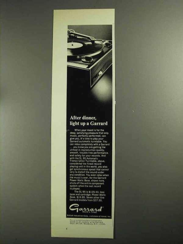 1968 Garrard SL 95 Turntable Ad - After Dinner Light Up