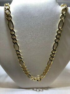 NEW MEN'S 10K YELLOW GOLD SOLID FIGARO CHAIN ON SALE NOW !
