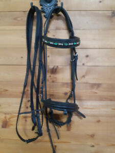 Black leather dressage bridle with reins