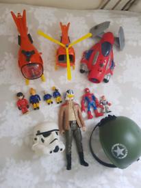 Boys toys bundle: fireman sam, spiderman